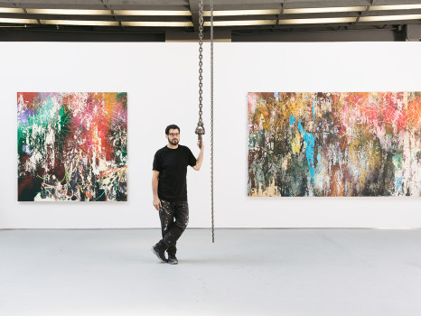 portrait, Dustin Aksland, José Parlá , art, artist, contemporary art, new york city, nyc, miami, graffiti, bryce wolkowitz gallery